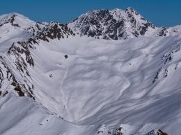 das gestrige Ziel, ganz rechts der Gipfel der Kreuzspitze
