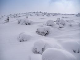 gut einschneiter Gipfelhang